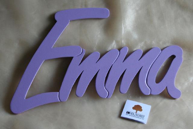 Holzbuchstaben Schriftzug Schreibschrift Name Farbwunsch