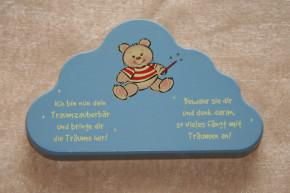 """Schutzengel """"Traumzauberbär"""" Wolke blau"""