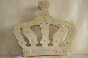 Lampe Holz Krone Prinzessin gold rosa Glitzersteine